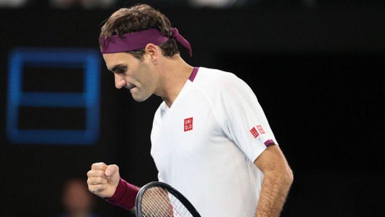 Нов загубен сет, но Федерер е на 1/4-финал с историческо постижение