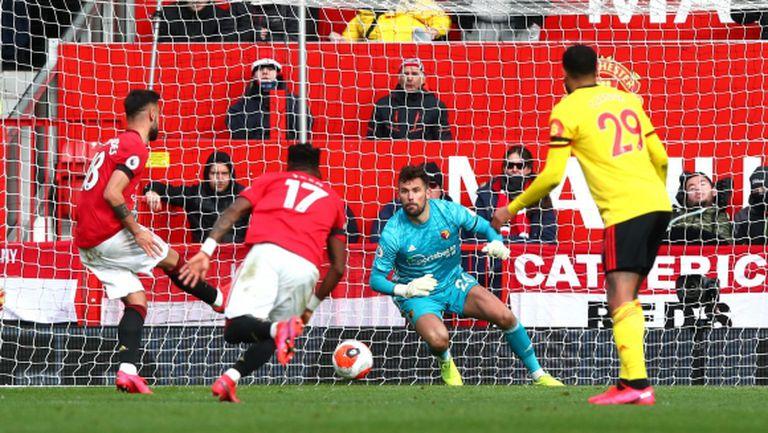 Бруно Фернандеш с първи гол при убедителен успех на Ман Юнайтед (видео)