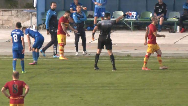 Втори червен картон в Кюстендил, двата отбора останаха с по 10 души