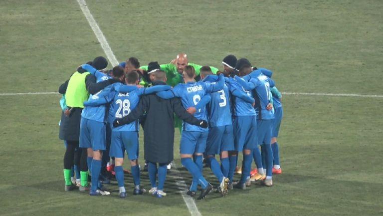 Радост за играчите на Левски след победата над Локо Пд