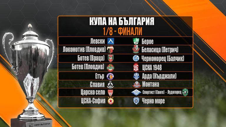 Левски срещу Берое и ЦСКА-София срещу Черно море на 1/8-финалите за Купата на България