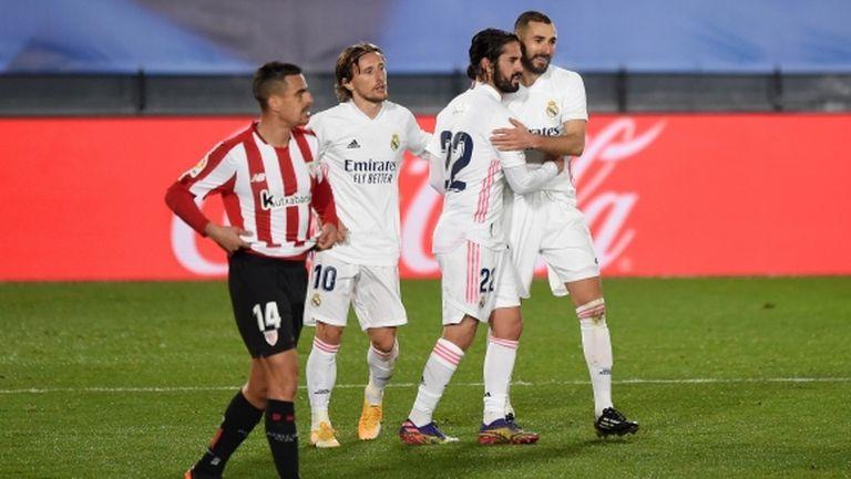Реал Мадрид преодоля съпротивата на десетима баски и се изравни с лидерите (видео)
