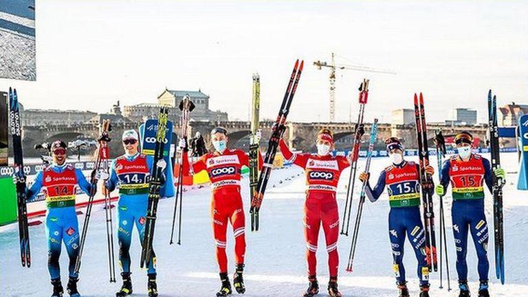 Александър Болшунов и Глеб Ретивих донесоха победа на Русия в отборния спринт в Дрезден