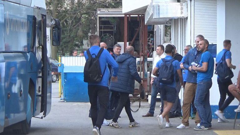 """""""Сините"""" пристигнаха за мача с шампионите"""