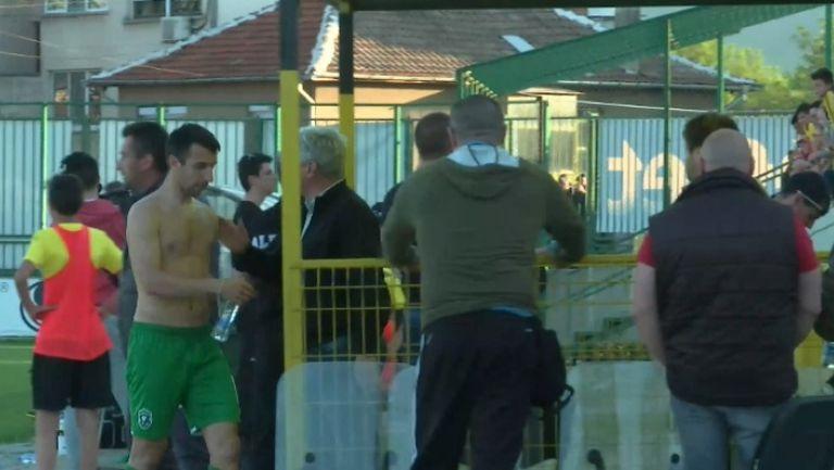 Дяков напусна гол терена след червения картон срещу Ботев (Пд)