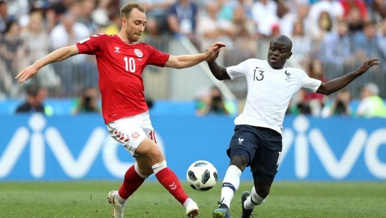 """Н'Голо Канте е """"Играч на мача"""" между Дания и Франция"""