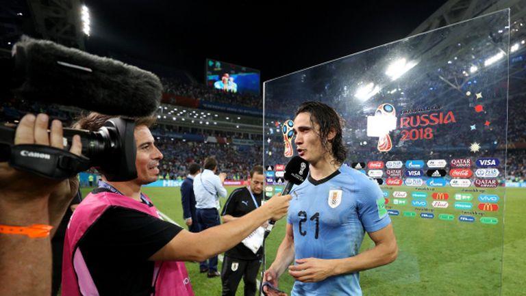 Кавани е играч на мача между Уругвай и Португалия