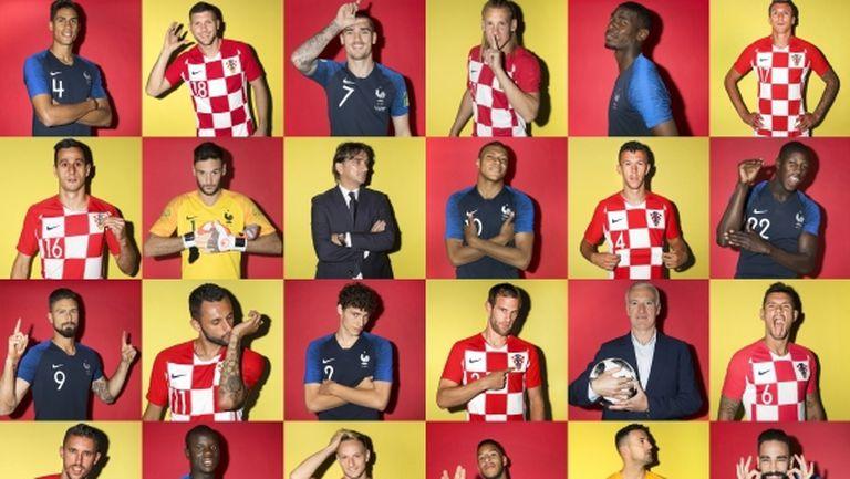 На финала: Франция в синьо, Хърватия - в червено и бяло