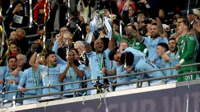 Ман Сити отвя Арсенал и си гарантира минимум дубъл, Пеп с първи трофей в Англия