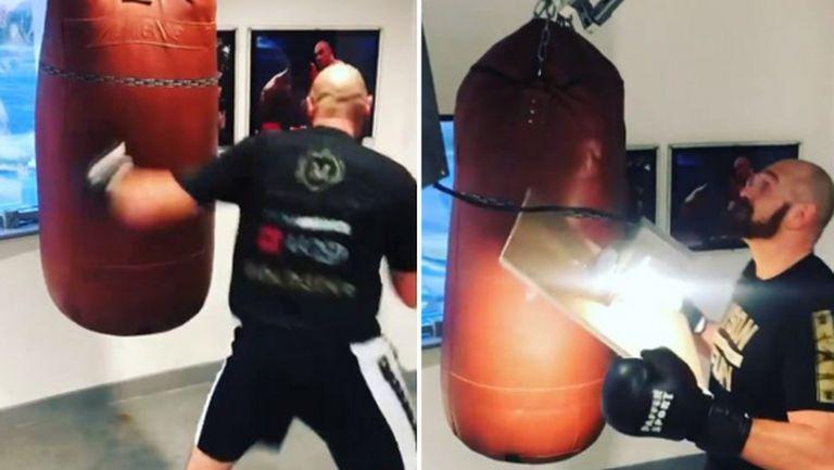 Тайсън Фюри изкърти боксовия чувал (видео)
