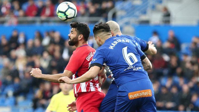 Две дузпи бяха нужни на Атлетико за победа с 1:0