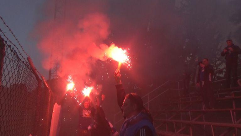 Димки и факли след гола на Прохазка в Лимасол