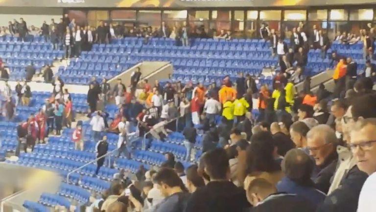 Вижте отблизо ексцесиите по трибуните на стадиона в Лион