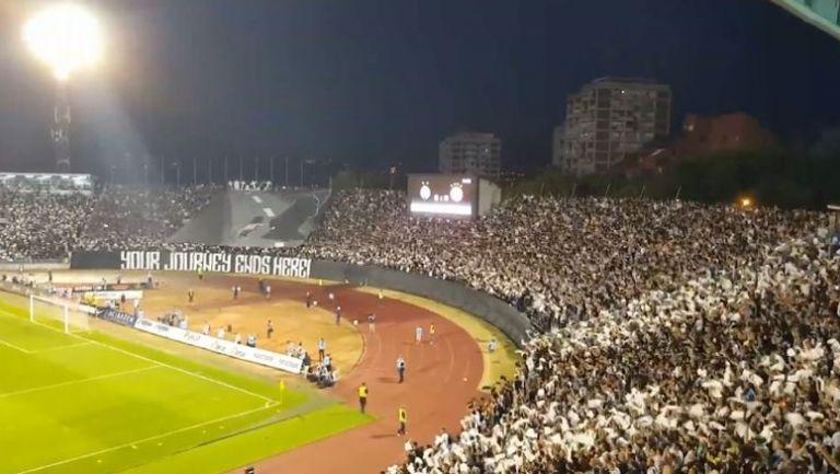 Феновете на Партизан срещу Олимпиакос