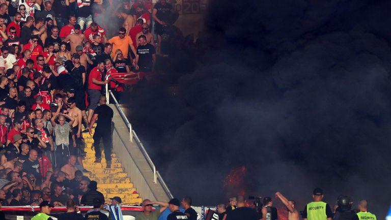 """Пожар в сектора на """"червените"""""""