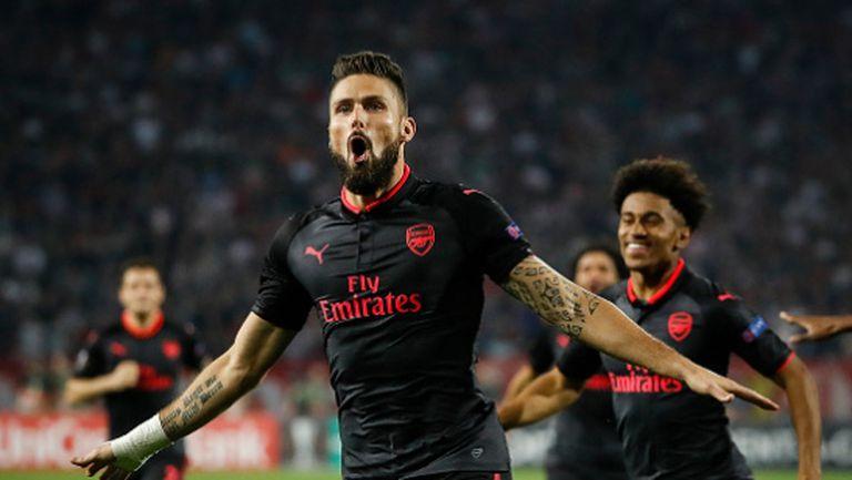 Арсенал срази Цървена звезда със страхотен гол на Жиру в края (видео)