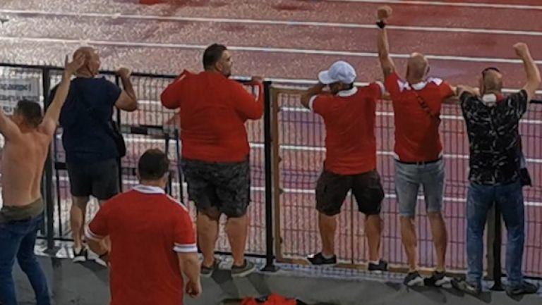 Бурната радост на феновете на ЦСКА 1948 след дебютния гол на Камбуров
