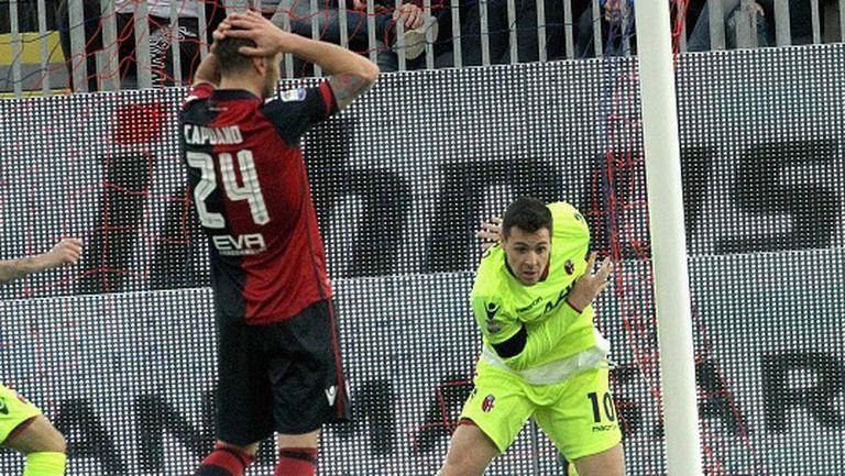 Страхотен гол на Бориело в 92-ата минута спаси Каляри срещу Болоня