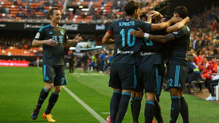 """Реал Сосиедад отмъкна ценни три точки от """"Местайя"""" (видео)"""