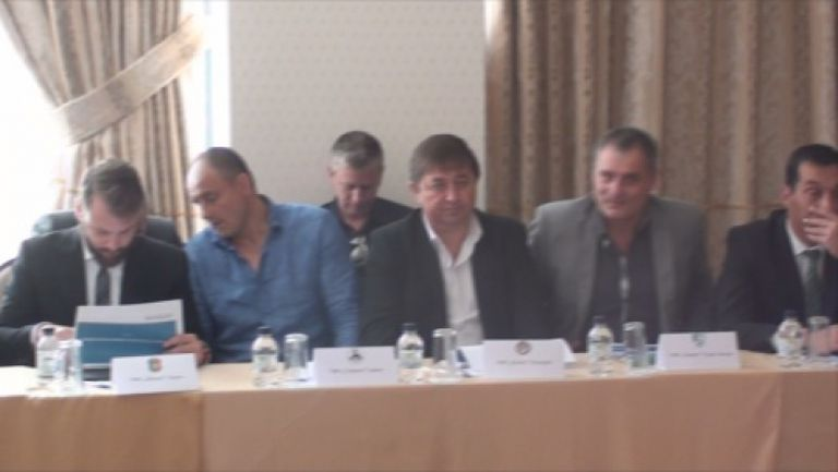 Ганчев, синдик Милева и Баждеков на срещата с БФС