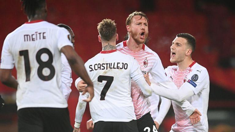Кяер в стил Марко ван Бастен изравни за Милан срещу Манчестър Юнайтед