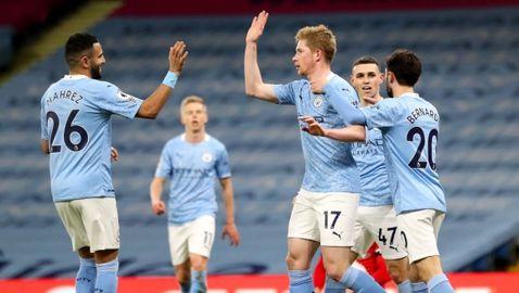 Манчестър Сити си върна настроението с много голове и отново дръпна с 14 точки (видео)