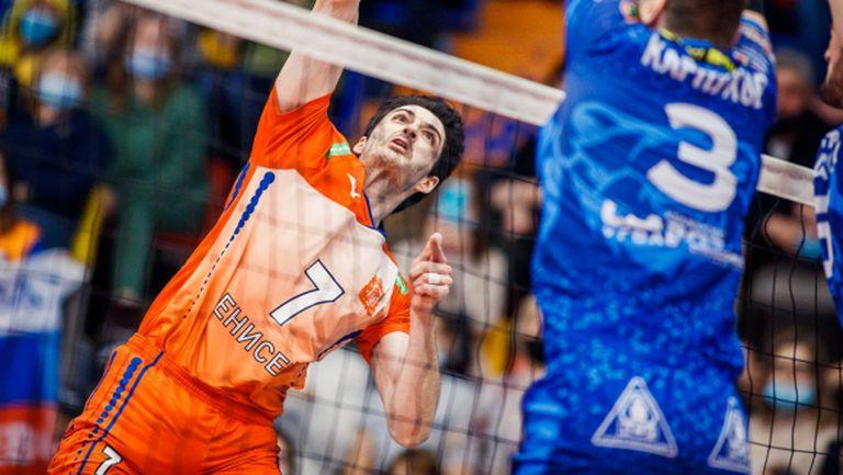 Тодор Скримов заби 26 точки (6 аса), но Енисей загуби от Кузбас след тайбрек (снимки)