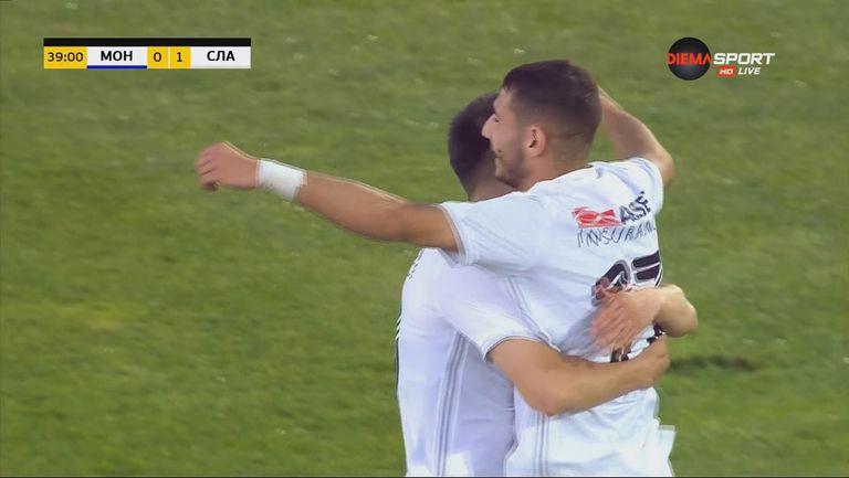 Ерол Дост препарира Макенджиев за 1:0 за Славия срещу Монтана
