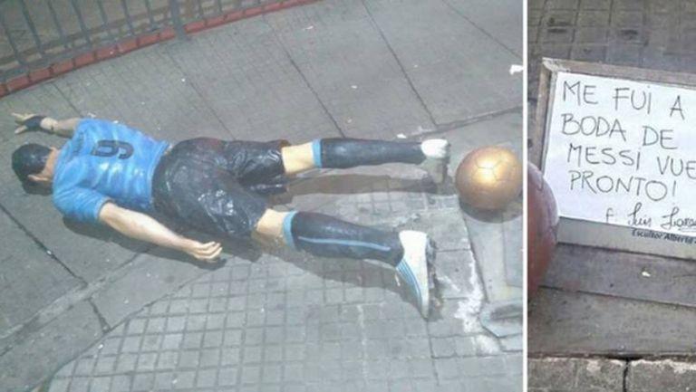Пиян събори статуята на Суарес