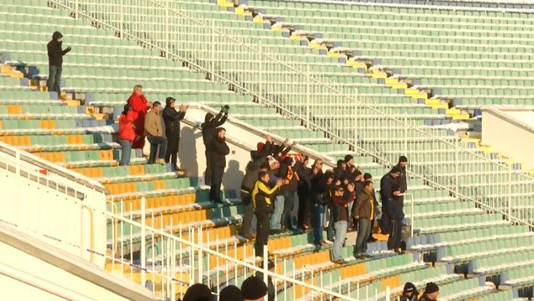 Феновете на Ботев (Пловдив) ликуват след изравнителния гол срещу Славия