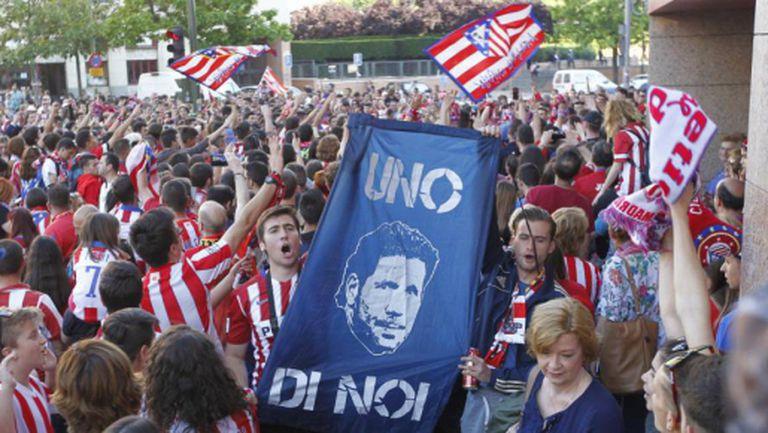 """3000 фенове на Атлетико се събраха около """"Калдерон"""" в знак на подкрепа"""