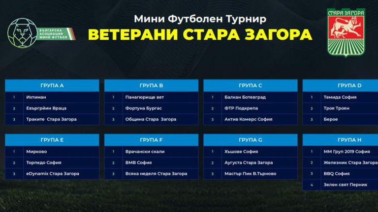 Започва Националният турнир по мини футбол за ветерани