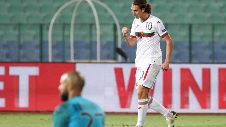 Божидар Краев откри резултата за България срещу Ейре след асистенция на Неделев