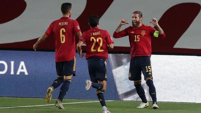 Серхио Рамос поведе Испания, Ансу Фати показа, че е бъдещето (видео)