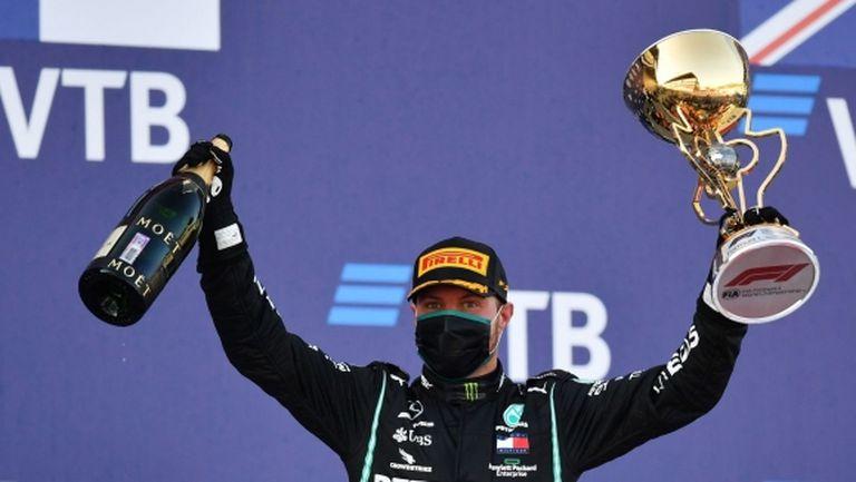 Ботас се върна към победите във Формула 1 след нелепо наказание на Хамилтън в Русия