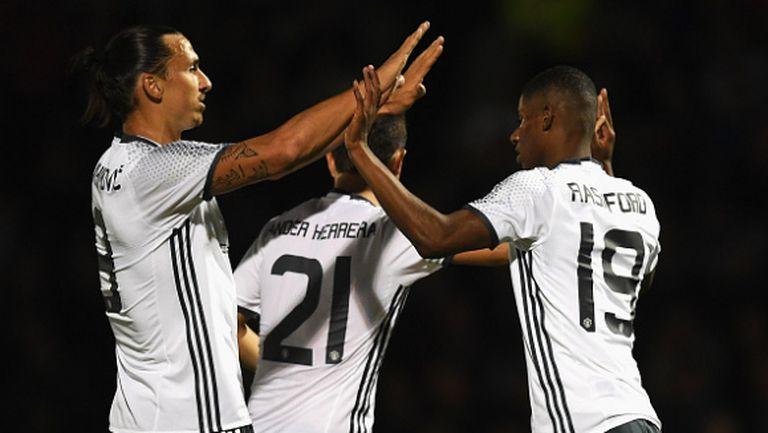 Юнайтед спря пропадането с труден успех за Купата на Лигата (видео)