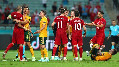 Без червени картони след меле между играчите на Уелс и Турция