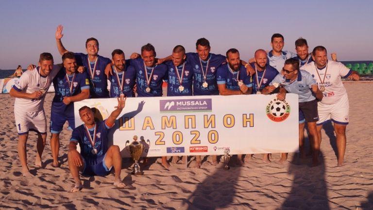 Шампионите по плажен футбол започнаха подготовката си на тъмно