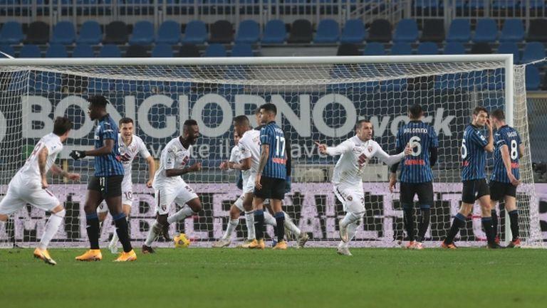 Аталанта профука ранен аванс от три гола срещу Торино (видео)