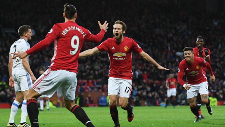 Четвърта поредна победа за Юнайтед, горчилка за Мойс и виртуозен гол от засада на Мхитарян (видео)