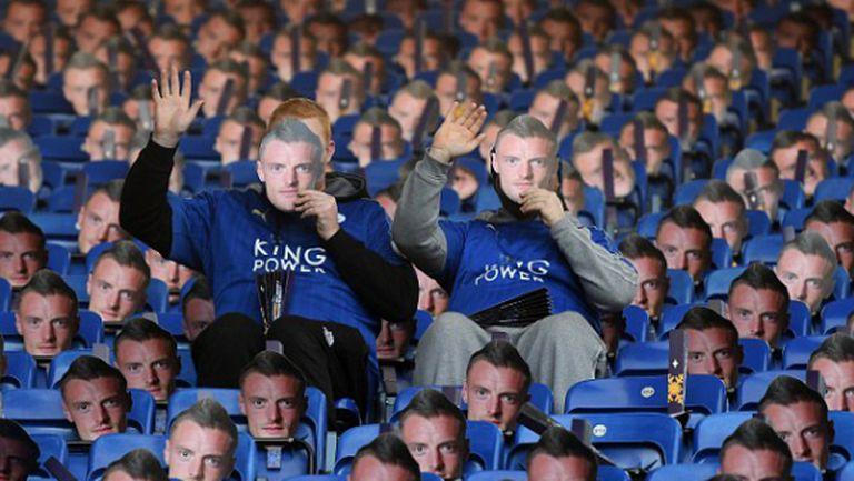 """30 000 маски на Варди на """"Кинг Пауър Стейдиъм"""", президентът на ФА също носи такава"""