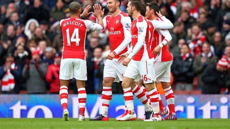 Арсенал громи с 5:0 в отсъствието на Алексис (видео)