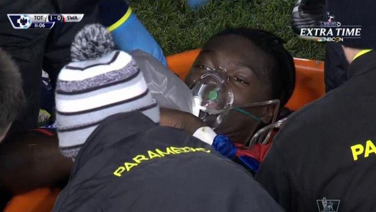 Гомис колабира по време на Тотнъм - Суонзи