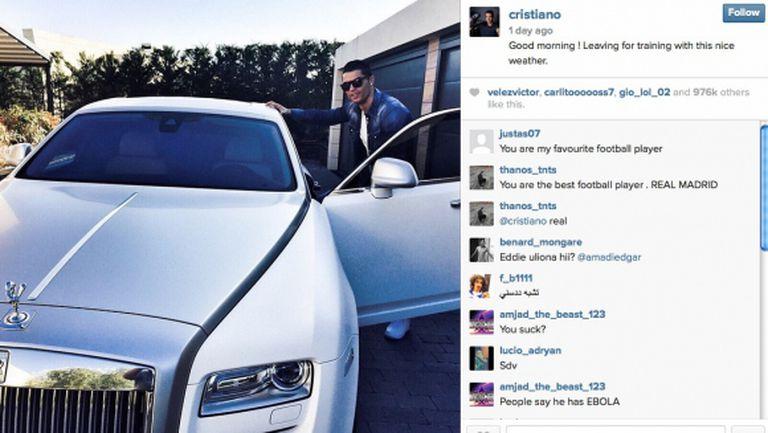 Кристиано показа новия си Ролс Ройс, струващ 450 хиляди евро (снимка)