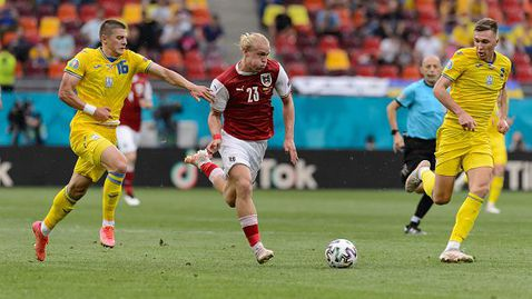 """С гол на  Баумгартнер Австрия победи Украйна с 1:0 и завърши на второ място в група """"C"""" на Евро 2020."""