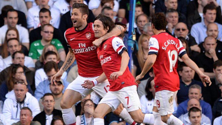 Най-бързият гол в историята на дербито донесе успех на Арсенал над врага Тотнъм (видео)