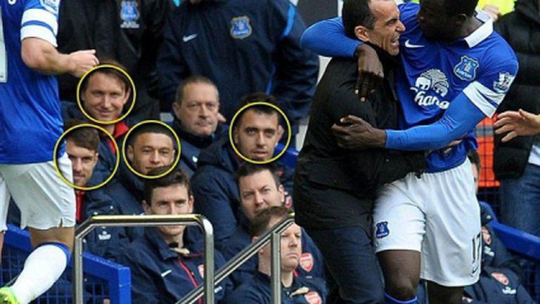 Резервите на Арсенал се смеят след гол в тяхната врата (снимка)