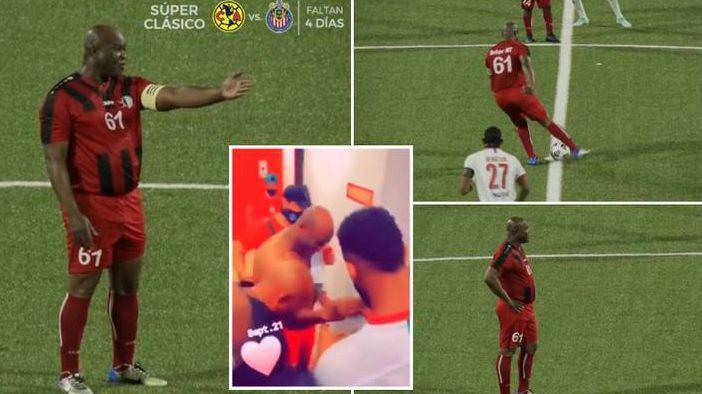 60-годишният вицепрезидент на Суринам игра в официален футболен мач