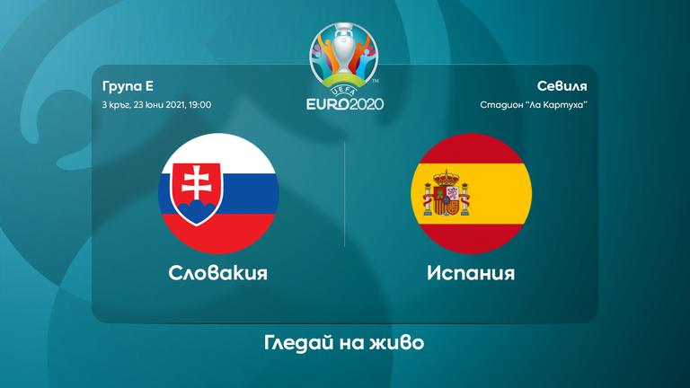 Начало на мача: Словакия 0:0 Испания