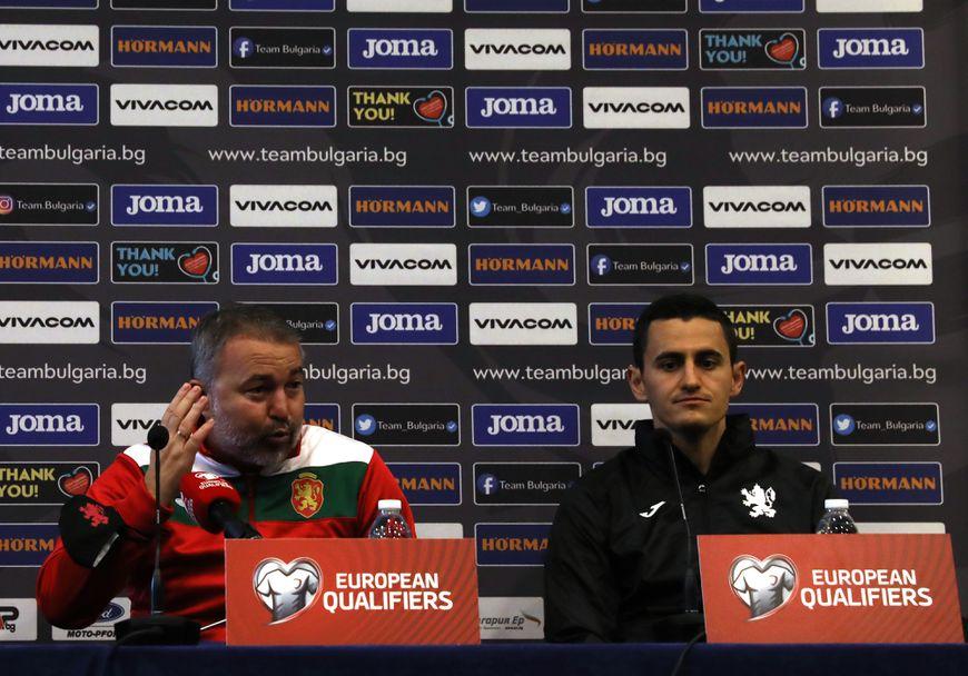 Пресконференция на Ясен Петров преди срещата квалификация България-Швейцария